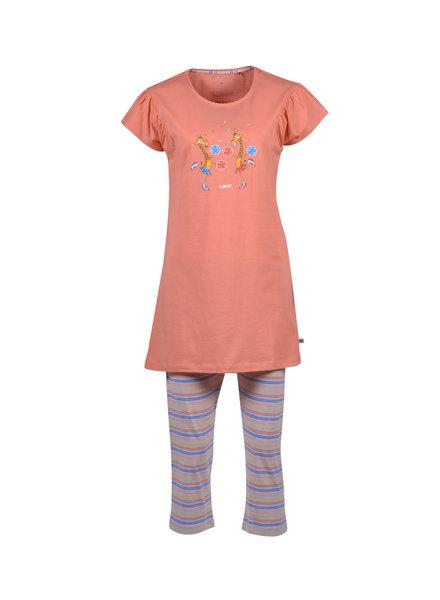 Woody Girls-women pyjamas coral giraaf