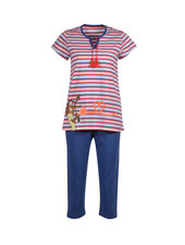 Woody Girls women pyjama, red-blue striped saucige dog