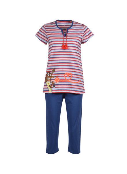 Woody Girls women pyjama, red-blue striped saucige dog
