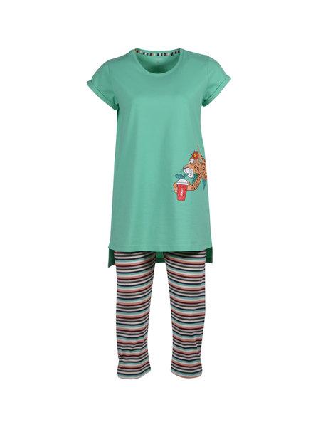 Woody Girls women pyjama, jade green leeuw