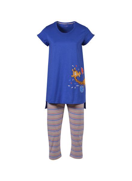 Woody Girls women pyjamas, royal blue giraf