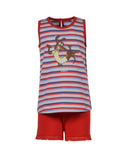 Woody Girls women pyjamas, red blue striped met hond