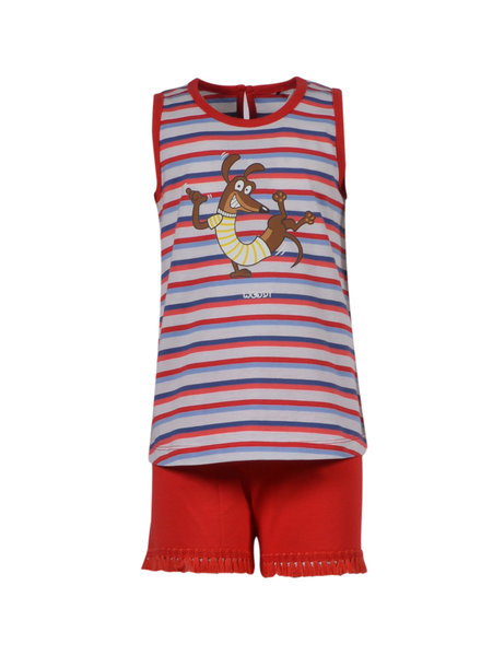 Woody Girls women pyjamas, red blue striped met hond