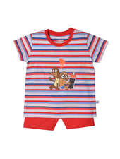 Woody Unisex pyjama, red-blue striped