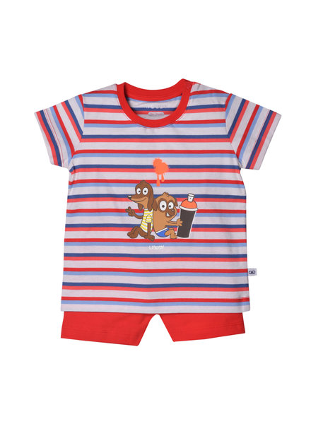 Woody Unisex pyjama, red-blue striped