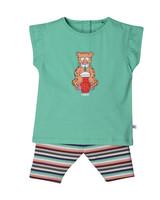 Woody Girls pyjama, jade green luipaard