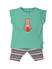 Woody Girls pyjama, jade green luipaard