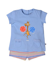 Woody Girls pyjama, light blue giraf