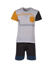 Woody Boys-men pyjamas, dark grey geel robot