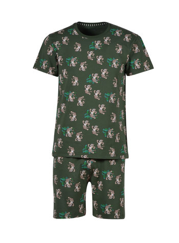 Woody Boys-men pyjama, dark green with panther