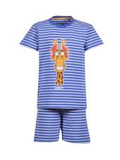 Woody Boys-men pyjamas, royal blue-white striped giraf