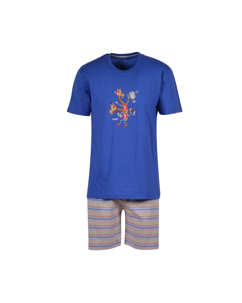 Woody Boys men pyjama , royal blue giraf