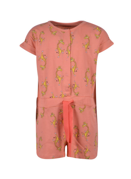 Woody Girls jumpsuit, coral with giraffe