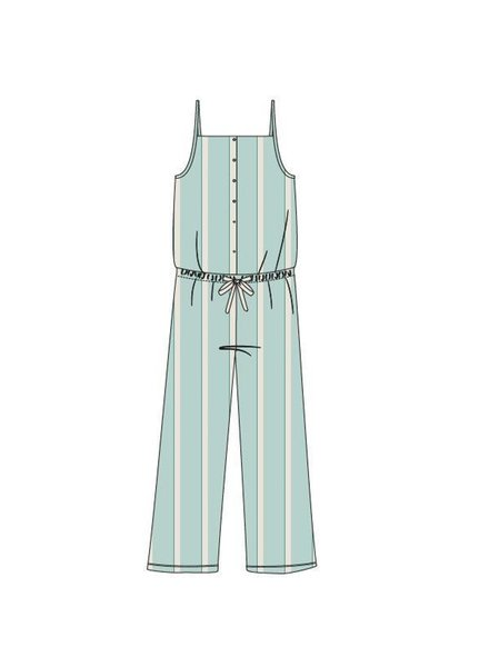 Woody Girls-Women jumpsuit, soft green-white striped