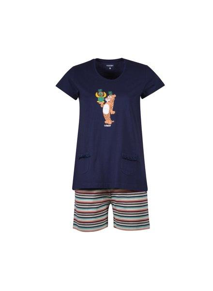 Woody Girls-women pyjamas, dark blue panther