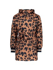 NoNo Bow outdoor hooded parka with belt on AOP animal