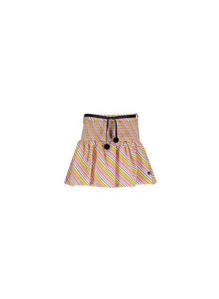 NoNo Noosa skirt multi cir stripe with smocked waist and rib belt with pompoms