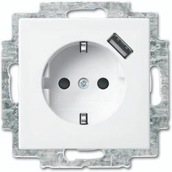 Busch-Jaeger wandcontactdoos randaarde kindveilig met USB-voeding Balance SI (20 EUCBUSB-914)