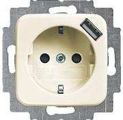 Busch-Jaeger wandcontactdoos randaarde kindveilig met USB-voeding standaard SI (20 EUCBUSB-212)