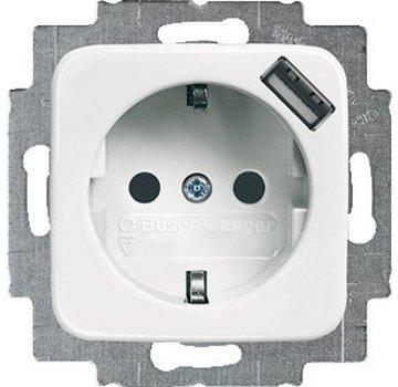 Busch-Jaeger wandcontactdoos randaarde kindveilig met USB-voeding Reflex SI (20 EUCBUSB-214)