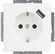 Busch-Jaeger wandcontactdoos randaarde kindveilig met USB-voeding Future Linear studiowit mat (20 EUCBUSB-884)