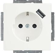Busch-Jaeger wandcontactdoos randaarde kindveilig met USB-voeding Future Linear studiowit glans (20 EUCBUSB-84)