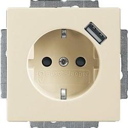 Busch-Jaeger Future Linear wandcontactdoos randaarde kindveilig met USB creme glanzend (20 EUCBUSB-82)