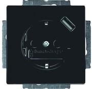 Busch-Jaeger wandcontactdoos randaarde kindveilig met USB-voeding antraciet glans (20 EUCBUSB-81)