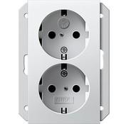 GIRA wandcontactdoos randaarde kindveilig 2-voudig voor anderhalve inbouwdoos Systeem 55 wit glans (273503)