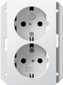 GIRA wandcontactdoos randaarde kindveilig 2-voudig voor enkele inbouwdoos Systeem 55 wit glans (273103)