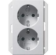 GIRA wandcontactdoos randaarde kindveilig 2-voudig voor anderhalve inbouwdoos Systeem 55 aluminium mat (273526)