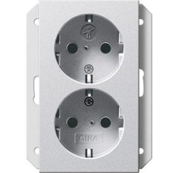 GIRA wandcontactdoos randaarde kindveilig 2-voudig voor enkele inbouwdoos Systeem 55 aluminium mat (273126)