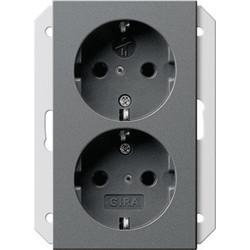 GIRA wandcontactdoos randaarde kindveilig 2-voudig voor anderhalve inbouwdoos Systeem 55 antraciet mat (273528)