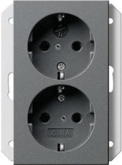 GIRA wandcontactdoos randaarde kindveilig 2-voudig voor enkele inbouwdoos Systeem 55 antraciet mat (273128)