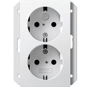 GIRA wandcontactdoos randaarde kindveilig 2-voudig voor enkele inbouwdoos Systeem 55 wit mat (273127)