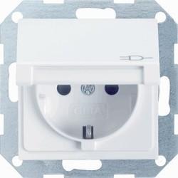 GIRA wandcontactdoos randaarde kindveilig klapdeksel Systeem 55 wit glans (041403)