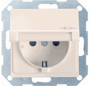 GIRA wandcontactdoos randaarde kindveilig klapdeksel Systeem 55 creme glans (041401)