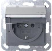 GIRA wandcontactdoos randaarde klapdeksel tekstkader Systeem 55 edelstaal (0410600)