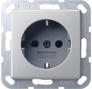 GIRA wandcontactdoos randaarde Systeem 55 edelstaal (0188600)