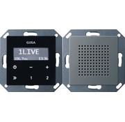 GIRA inbouwradio RDS zwartglaslook met luidspreker Systeem 55 edelstaal (2280600)