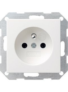 GIRA wandcontactdoos randaarde aardingspen (Belgie) Systeem 55 wit glans (048503)