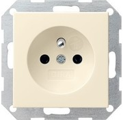 GIRA wandcontactdoos randaarde aardingspen (Belgie) Systeem 55 creme glans (048501)