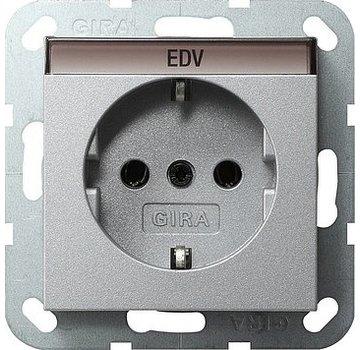 GIRA wandcontactdoos randaarde tekstkader Systeem 55 aluminium mat (045726)