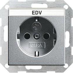 GIRA wandcontactdoos randaarde kindveilig tekstkader Systeem 55 aluminium mat (046226)
