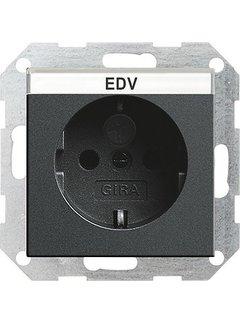 GIRA wandcontactdoos randaarde kindveilig tekstkader Systeem 55 antraciet mat (046228)