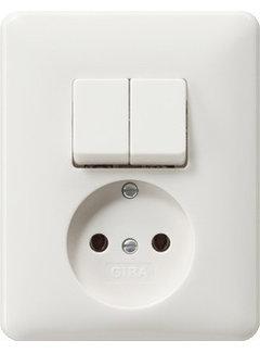 GIRA combinatie serieschakelaar en wandcontactdoos zonder randaarde Systeem 55 wit glans (047503)