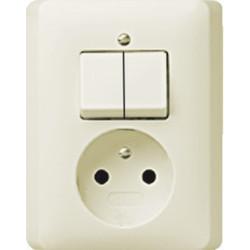 GIRA combinatie serieschakelaar en wandcontactdoos zonder randaarde Systeem 55 creme glans (047501)