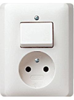 GIRA combinatie schakelaar en wandcontactdoos zonder randaarde Systeem 55 wit glans (047603)