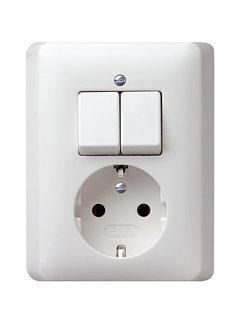 GIRA combinatie serieschakelaar en wandcontactdoos randaarde Systeem 55 wit glans (017503)