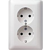 GIRA wandcontactdoos randaarde 2-voudig voor anderhalve inbouwdoos Systeem 55 wit glans (078203)